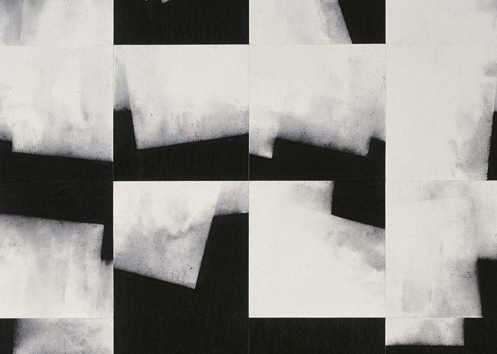 E. Heindl - o. T. Stadtplan 120x120 schwarz